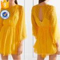 Loose Rendas Amarelas Chiffon Três Quartos Comprimento Manga Mini Vestido de Verão Fabricação Atacado Moda Feminina Vestuário (TA0285D)
