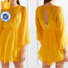 Suelta la gasa de encaje amarillo tres cuartos de manga manga Mini vestido de verano Fabricación al por mayor de las mujeres de la manera de prendas de vestir (TA0285D)