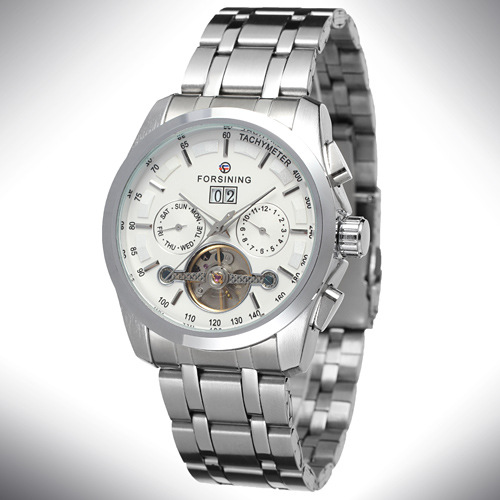 Mens automatic forsining mechanical wrist watch