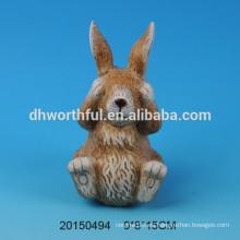 Regalo de Pascua cutely decoración de cerámica de conejo