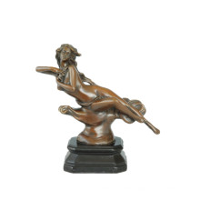 Female Figure Art Carving Bronze Sculpture Small Size Nude Lady Brass Statue TPE-541
