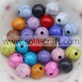 Fashion Opaque Crackle Acrylic Round Beads For Jewelry