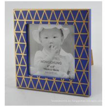 Marco azul con la línea de oro para la decoración del hogar