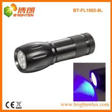 Fabrik Custom Made CE Aluminium Material Power 390nm 9 LED Bule Licht Taschenlampe für Bad und Hotel Sauberkeit