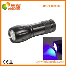 Factory Custom Made CE Aluminum Material Power 390nm 9 led Bule Light Flashlight Torch For Bathroom and Hotel Cleanliness