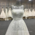 Elegante vestido de novia blanco de la línea 2017 vestido de novia de china alibaba