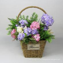 Cestas de flores colgantes artificiales de belleza decorativa para el exterior