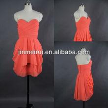 Vestido sin tirantes JPD007 del baile de fin de curso de la gasa del amor del cortocircuito del color coral del envío libre mini