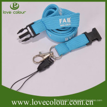Blue security badge lanyard with mobile phone loop