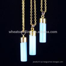 Ouro cadeias pedra natural opala azul pedras pingente necaklce moda jóias de cristal