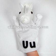 hermosa títere de mano de unicornio felpa blanca