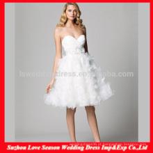 HC4277 A venda inteira de uma linha sem mangas decote de noiva cristal de diamante flores saia branco organza vestidos de casamento macios