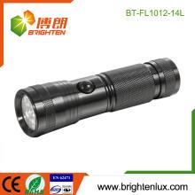 Vente en vrac en usine 3 * AAA Battery Powered OEM Portable 14 led Custom Made Metal Led Flashlight