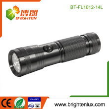 Factory Bulk Sale 3*AAA Battery Powered OEM Portable 14 led Custom Made Metal Led Flashlight