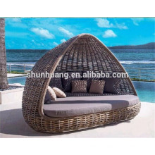 PE rattan sun bed outdoor lounger bed for beach furniture