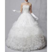 A linha princesa querida Strapless assoalho-comprimento do laço Oraganza casamento vestido de babados