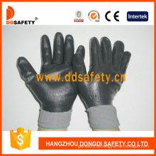 Graues Nylon mit schwarzem Nitril-Handschuh-Dnn442