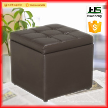 Leather folding storage ottoman