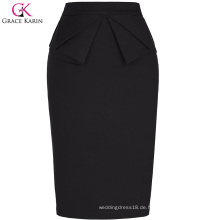 Grace Karin Womens Solid Color High Stretchy Hips-Wrapped Vintage Retro Schwarz Bleistift Skirt CL010454-1
