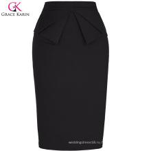 Грейс Карин женщин сплошной Цвет высокие эластичные бедра-завернутый старинные Ретро черный карандаш юбка CL010454-1
