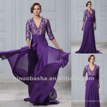 Cheap Purple Lace Three Quarter Mains V Neck Chapel Train Robe plissée Robe Mère Robe de soirée