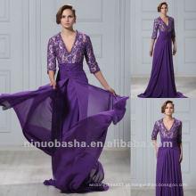 Cheap Purple Lace Three Quarter Mangas V Neck Chapel Train Bainha Plissada Vestido Mãe Vestido de noite