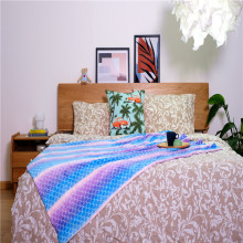 Одеяло из кораллового бархата с разноцветным рисунком рыбьей чешуи Dream