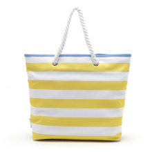 Kvinnor Gul Stor Stripade Tote Canvas Beach Bags