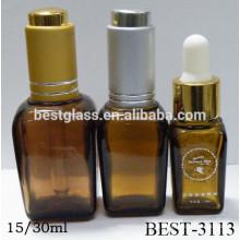 Pequeña botella barata del cuentagotas del vidrio cuadrado de la muestra libre de China 30ml