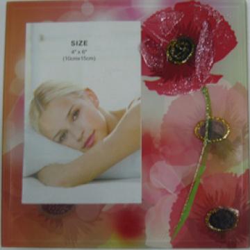 "Red Flower 4""X6"" Glass Photo Frame"