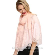 Tingyu design especial longa moda mulheres muçulmanas árabes macios de algodão largo guarnição do laço hijab lenço
