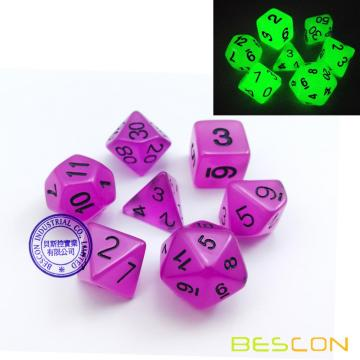 Bescon Polyhedral 7-Die Set: GLOW IN DARK Dice Set in Purple Color