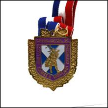 Обычная металлическая медаль с лентой, золотой металл (GZHY-JZ-027)