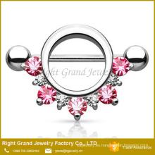 Círculo rosa gemas forrado rojo CZ G 14 acero quirúrgico barra pezón anillo joyería del cuerpo