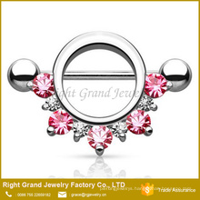 Circle Pink Red Lined Gems CZ Surgical Steel 14G Barbell Nipple Ring Body Jewelry