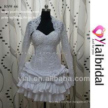 RSW66 vestido de noiva branco curto com jaqueta