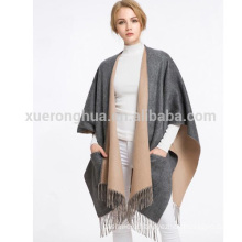 2016 new design plain camel color wool cape with pocket for women