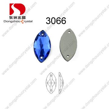 Navette Shape Sew on Glass Stone for Bride Dress Capri Blue Dz-3066