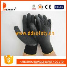 Nylon / Polyester Liner Latex Crinkle Handschuhe Dnl119