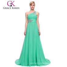 Grace Karin Venta al por mayor Una línea de un hombro de gasa Aquamarine rebordeados largos vestidos de dama de honor CL2949-6