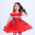 Лучшая Цена Красивый Красный Вышитые Китайский Стиль Платье Большая Девочка Партии Платья