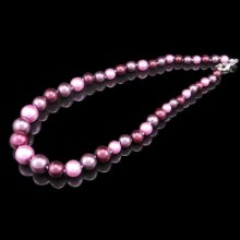 Simple Design Pink Glass Pearl Necklace