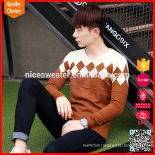2017 new arrival v neck jacquard jumper pullover sweater for men