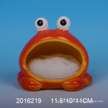 Decorative ceramic sponge holder with frog design