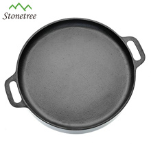 New Non-Stick Flat Round Cast Iorn Pizza Pan With Handle