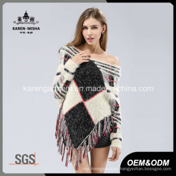 Lady Hairy Long Sleeve Tassels Geometric Pattern Knit Poncho Sweater