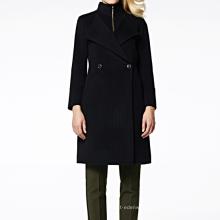 17PKCSC005 mulheres camada dupla 100% casaco de lã de caxemira