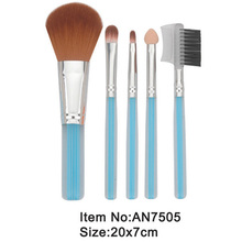 5pcs royle blue plastic handle animal/nylon hair makeup brush tool set