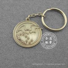Porte-clés en métal plaqué argent rond antique (GZHY-KC-011)