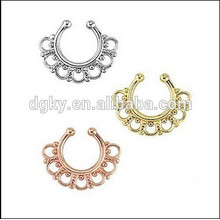 Hoop Cartilage Clip On Non Piercing Nose Ring Tribal Fake Septum Clicker